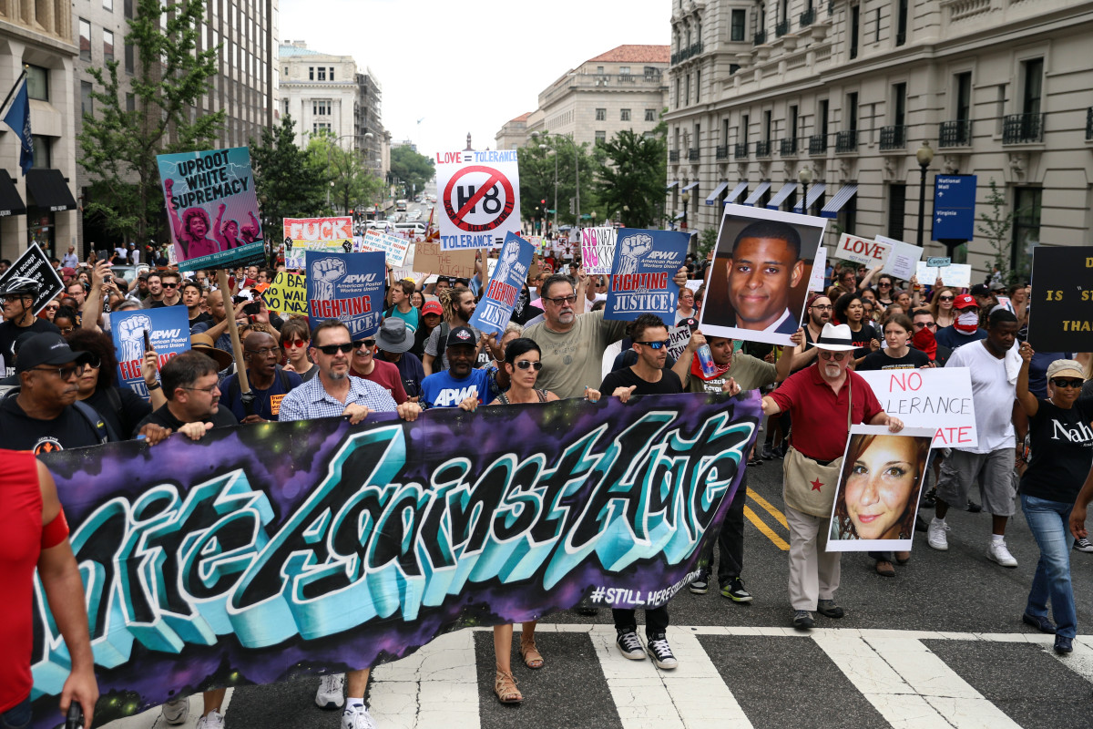 Counter-protesters march from Freedom Plaza to Lafayette Park before the Unite the Right rally on August 12th, 2018, in Washington, D.C.