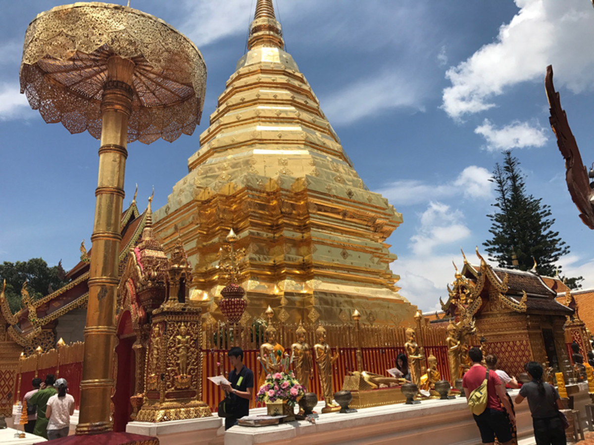 Wat Phra That Doi Suthep, a Buddhist temple found at the top of the Doi Suthep Mountain in Chiang Mai, Thailand.