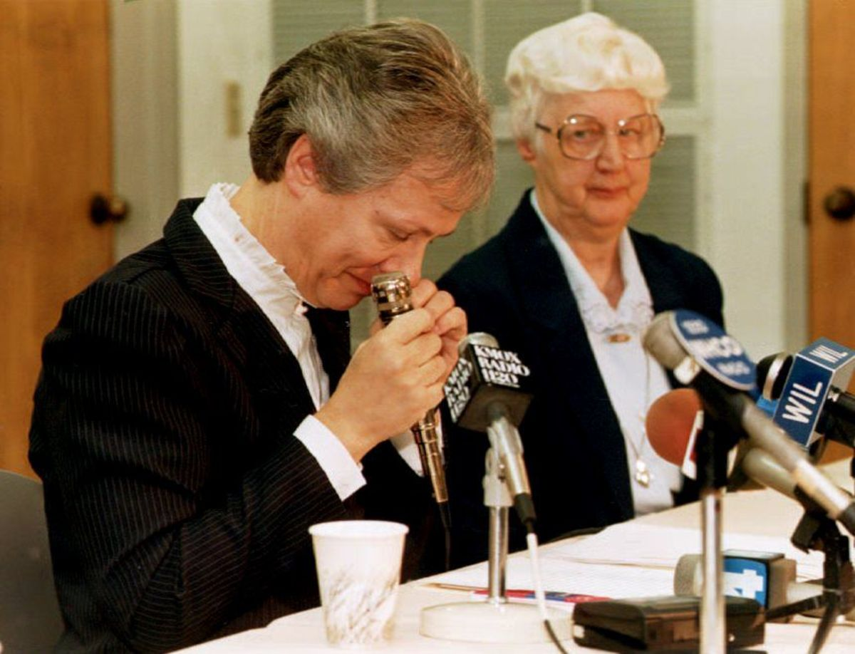 Sister Mildred Gross, provincial of the Adorers of the Blood of Christ convent, on October 31, 1992, during a news conference on the recent killing of five of their missionary sisters in Liberia.
