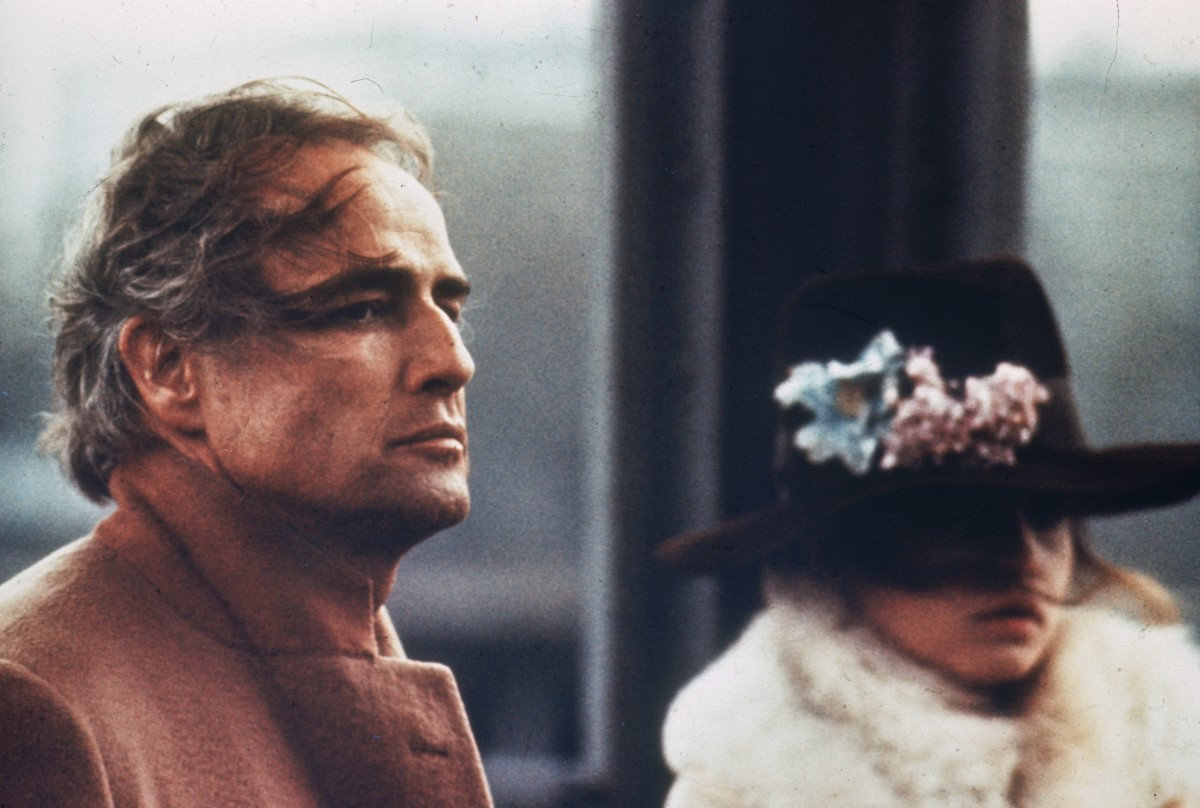 Marlon Brando and Maria Schneider star in Last Tango in Paris.