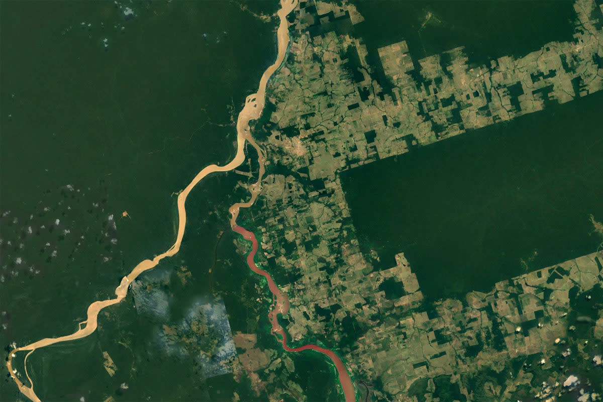 Deforestation around Igarapé Lage, in Rondônia, Brazil.
