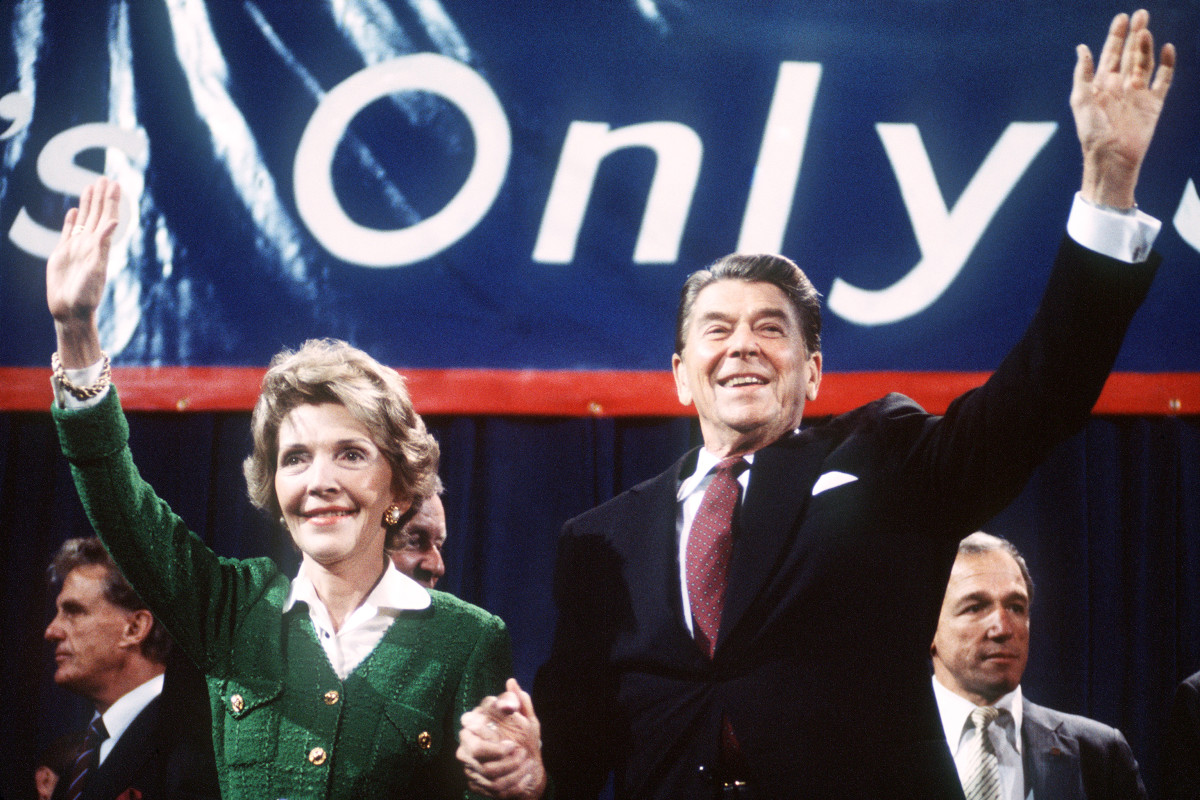 Ronald and Nancy Reagan wave to supporters at a campaign rally in 1984.