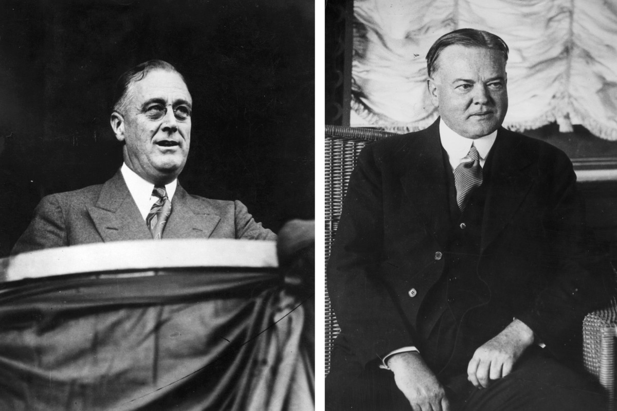 Franklin D. Roosevelt (left) and Herbert Hoover.