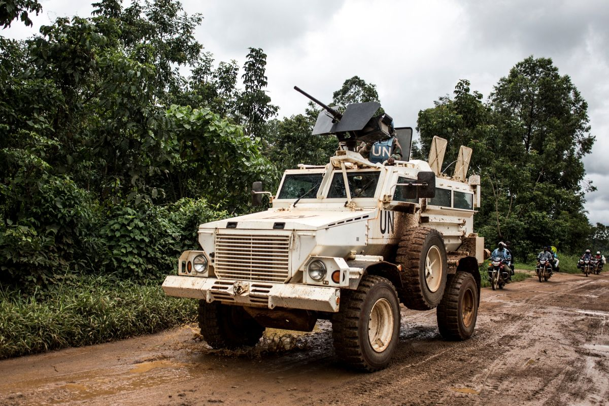 A military truck of the United Nations Organization and Stabilization Mission in the DRC patrols on the road linking Beni to Mangina on August 23rd, 2018, in Beni, in the North Kivu province.