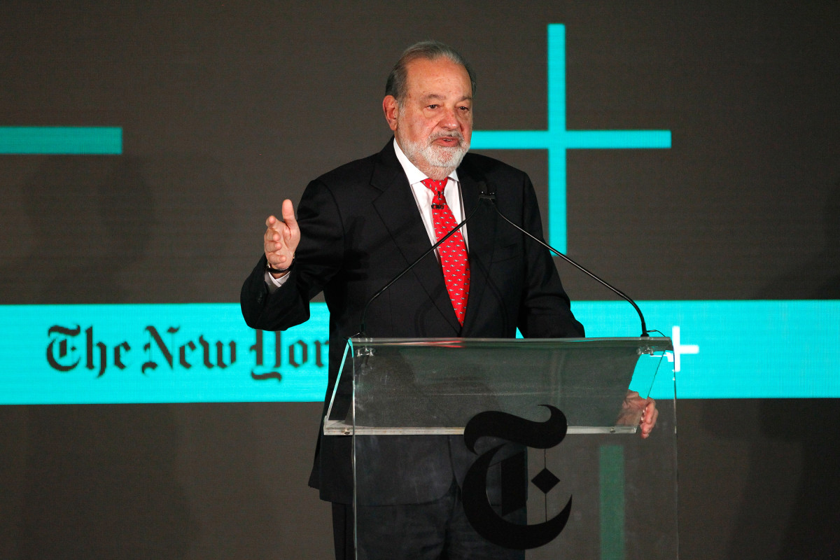 Carlos Slim Helu, chairman of Grupo Carso, speaks onstage at the New York Times New Work Summit on February 29th, 2016, in Half Moon Bay, California.