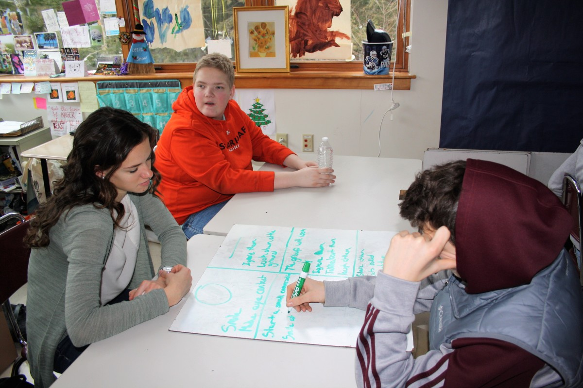 Noble High School students in North Berwick, Maine, consider how they would react to a person toward whom they have negative feelings as part of an I-Time exercise