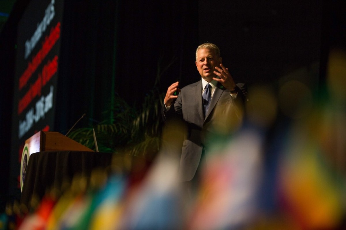 Former Vice President Al Gore addresses the Climate Reality Project's leadership training in Los Angeles on August 29th, 2018.