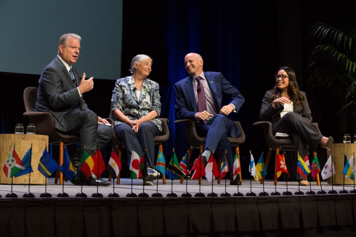 Al Gore on a panel at the Climate Reality Project's 2018 training in Los Angeles.