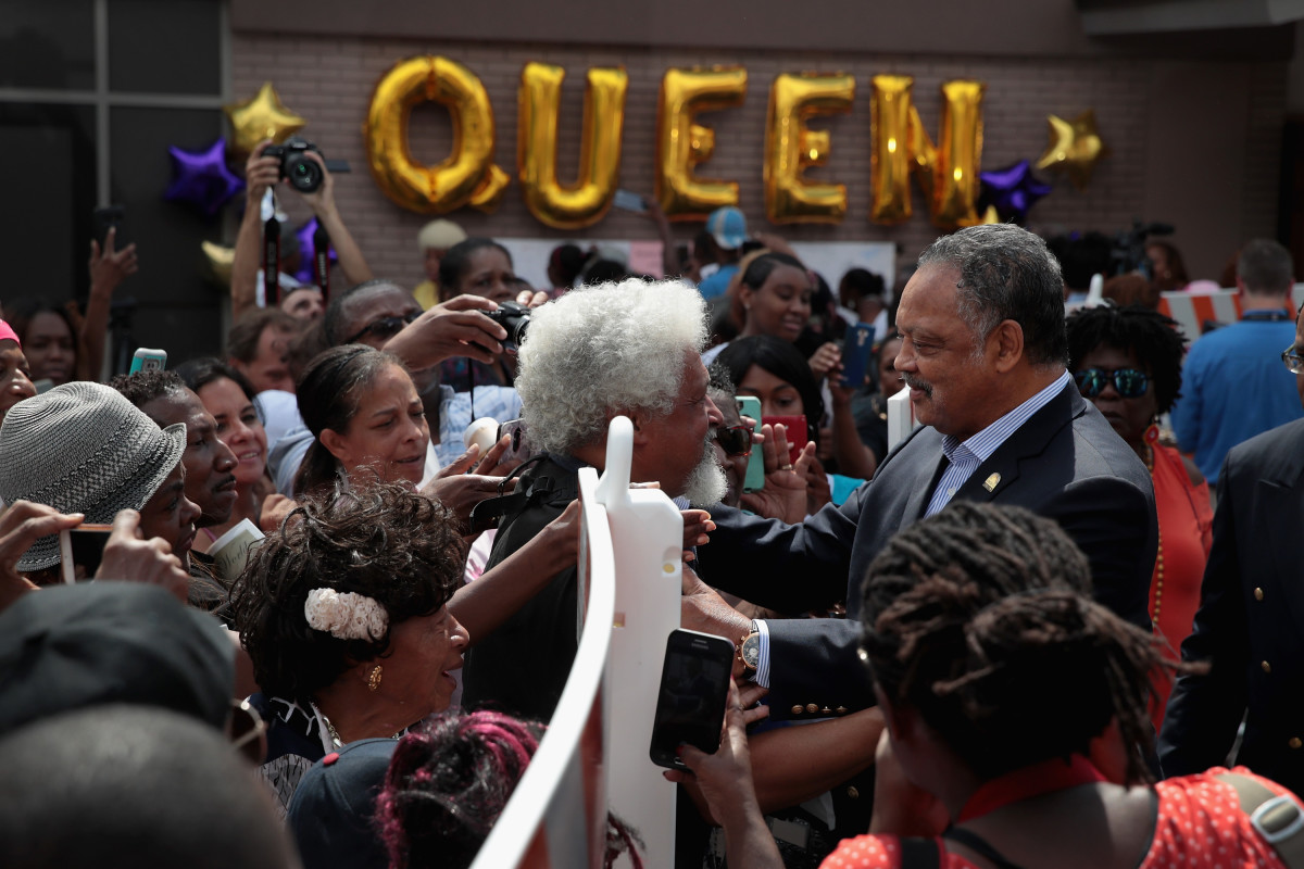 Reverend Jesse Jackson greets the crowd gathered outside the New Bethel Baptist Church for a final public viewing of the late soul singer's remains on August 30th, 2018.