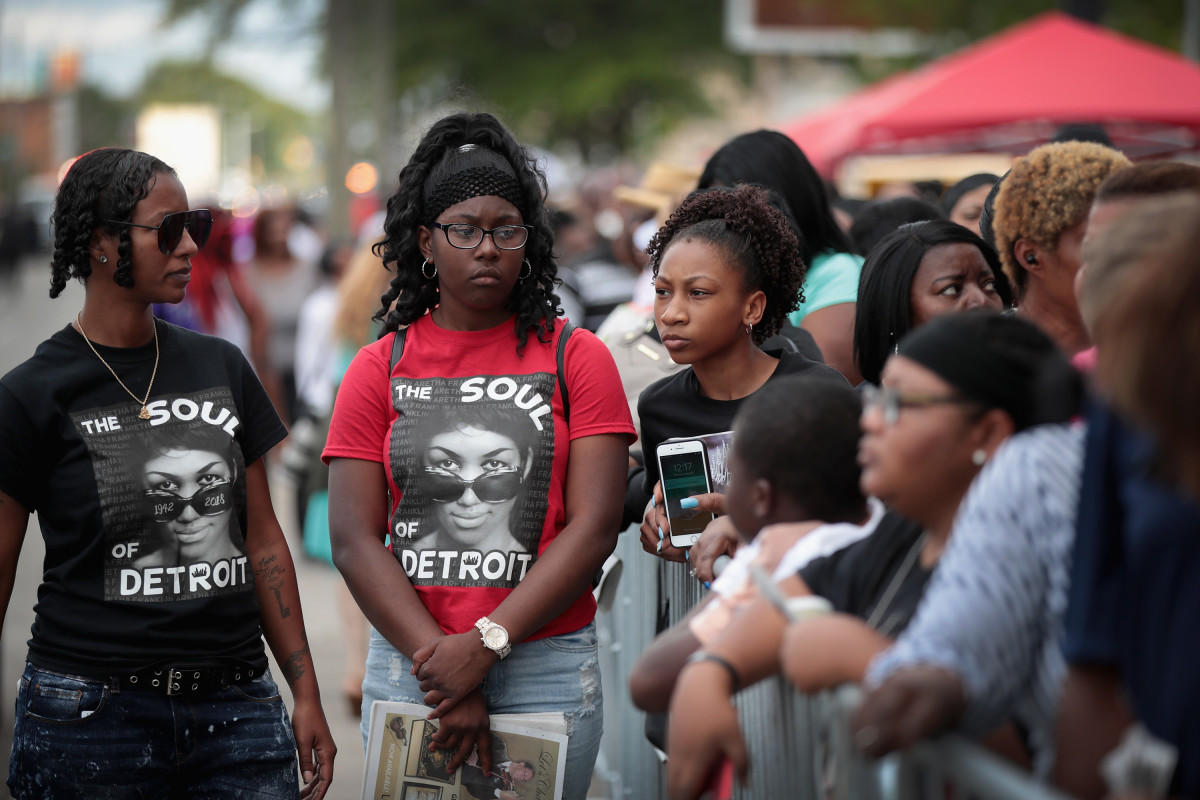 Thousands of fans await their chance to pay their respects to Aretha Franklin on August 30th, 2018.