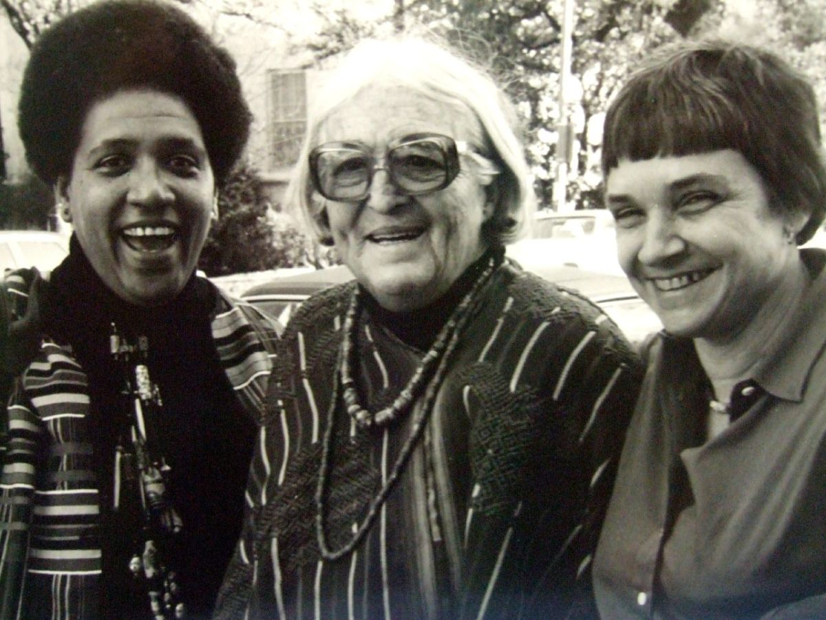 Left to right: Audre Lorde, Meridel Le Sueur, and Adrienne Rich in 1980.