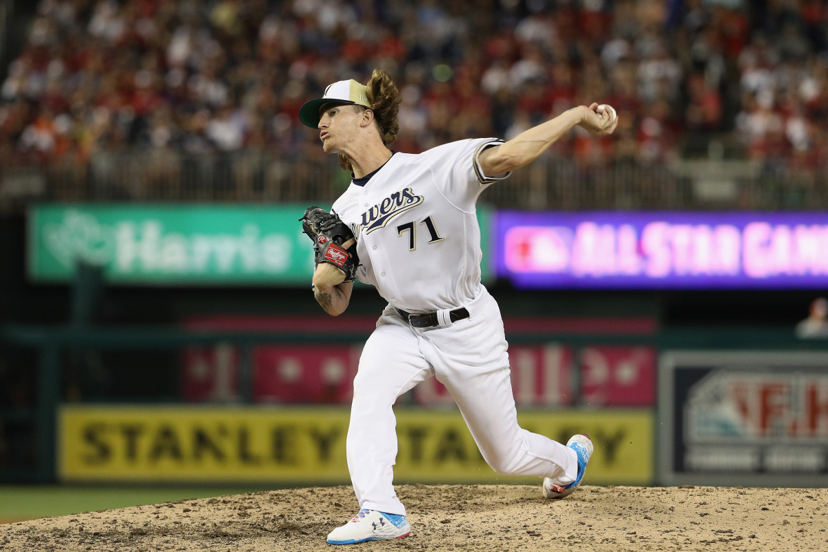Josh Hader of the Milwaukee Brewers and the National League pitches in the eighth inning against the American League during the 89th MLB All-Star Game on July 17th, 2018, in Washington, D.C.