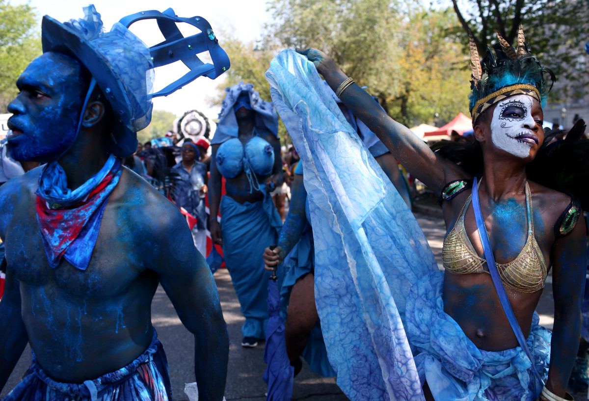 Costumed dancers participate in the annual West Indian Day Parade on September 3rd, 2018, in Brooklyn. The parade is one of the biggest celebrations of Caribbean culture in North America.