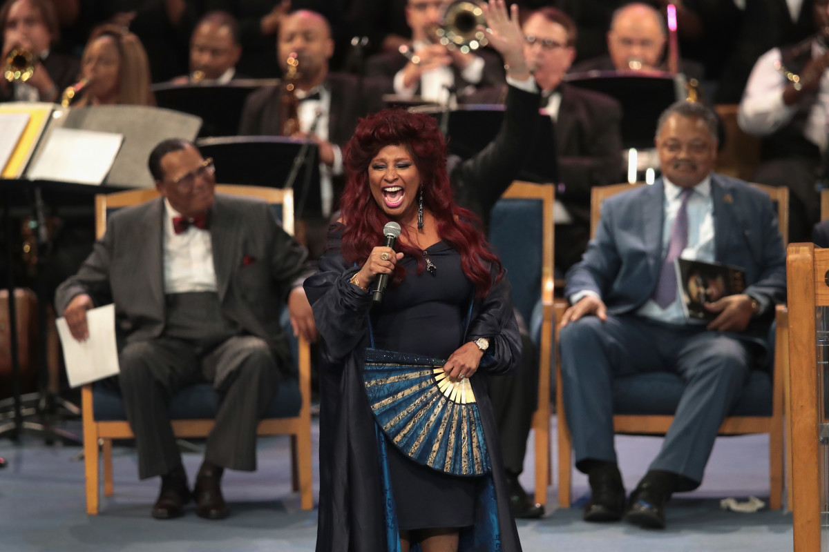 Chaka Khan performs at the funeral for Aretha Franklin at the Greater Grace Temple in Detroit, Michigan, on August 31st, 2018.