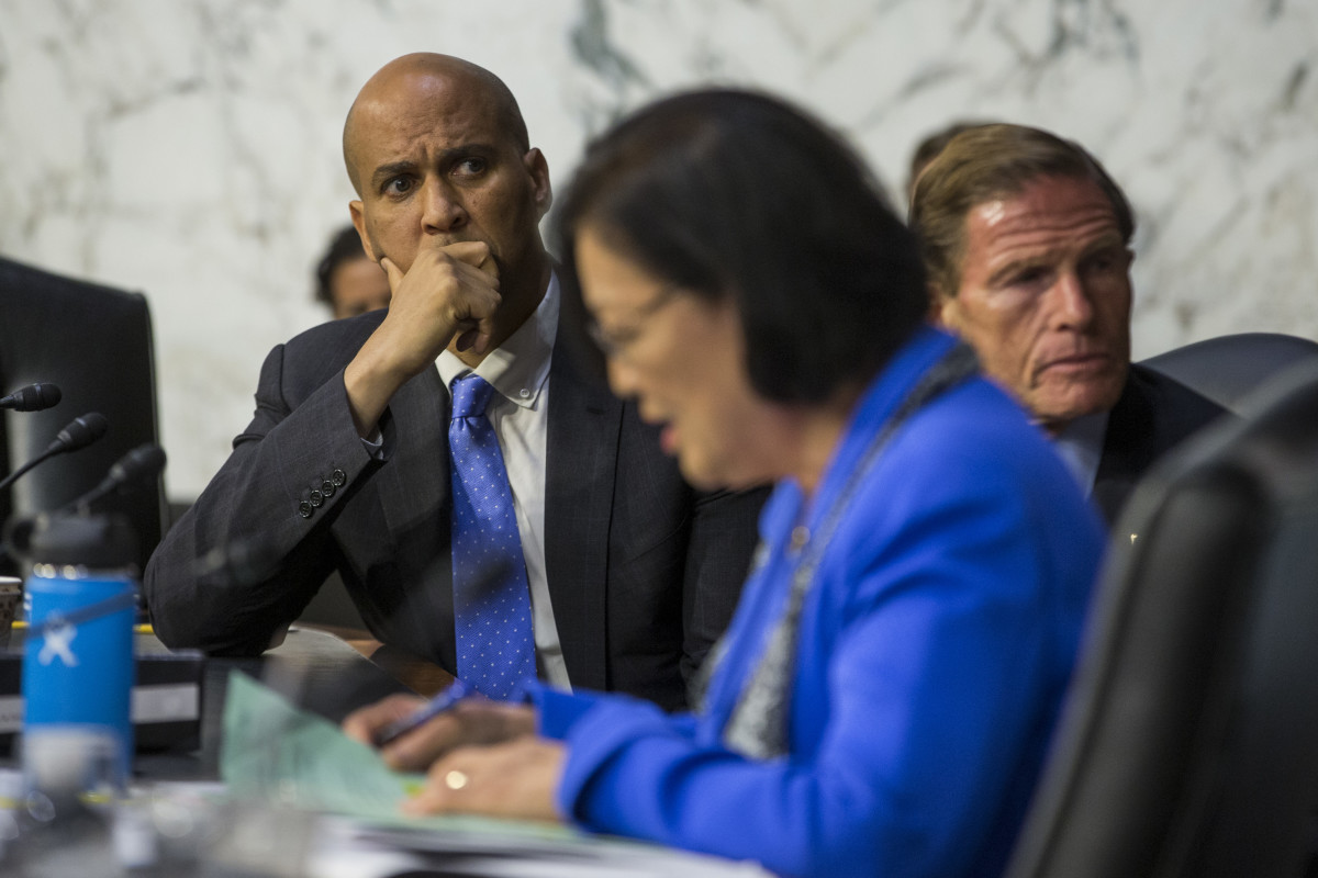 Senator Cory Booker (D-New Jersey) listens as Senator Mazie Hirono (D-Hawaii) questions Supreme Court nominee Brett Kavanaugh during the second day of his Supreme Court confirmation hearing on Capitol Hill on September 5th, 2018, in Washington, D.C.