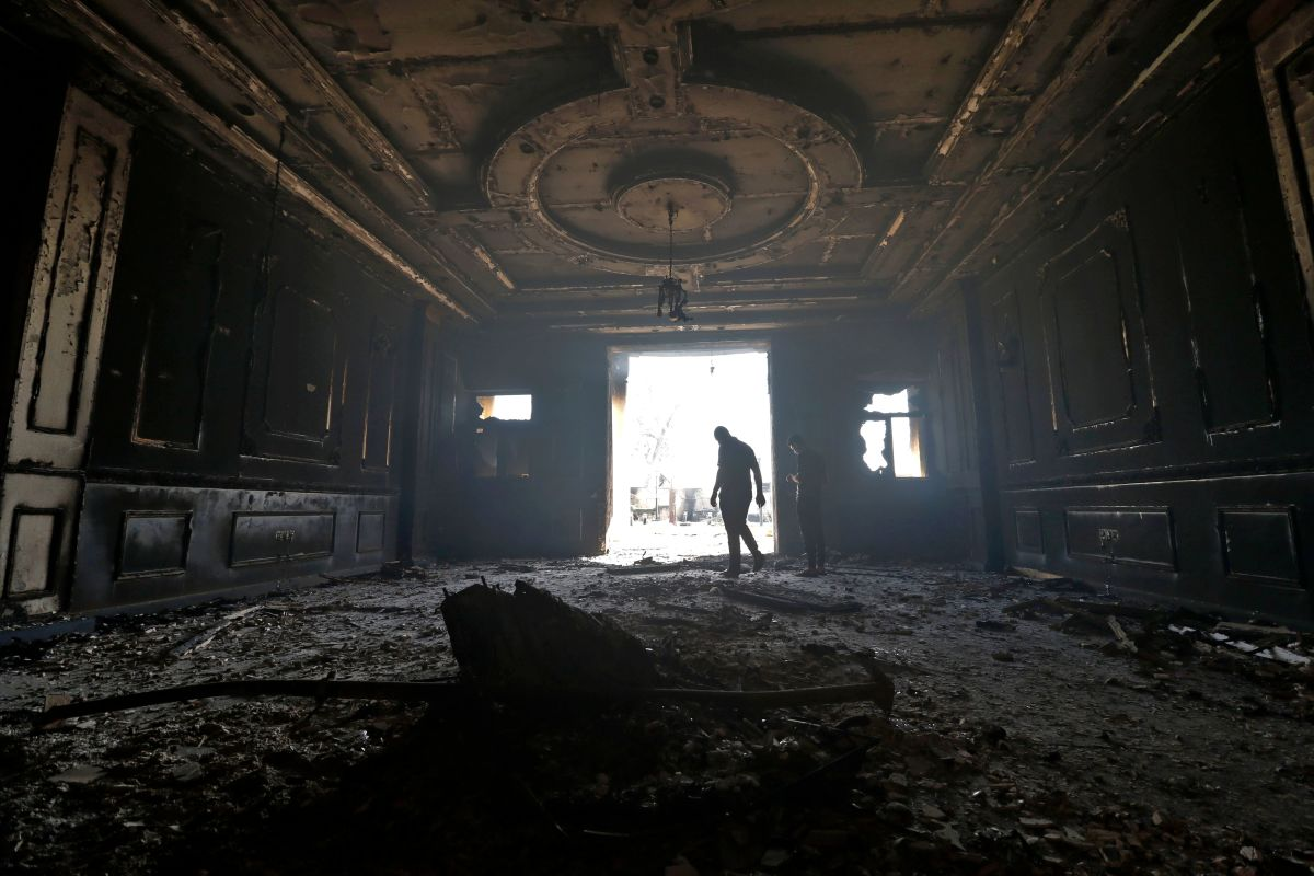 A picture shows the damaged house of Basra's governor in the aftermath of a violent protests on September 7th, 2018.
