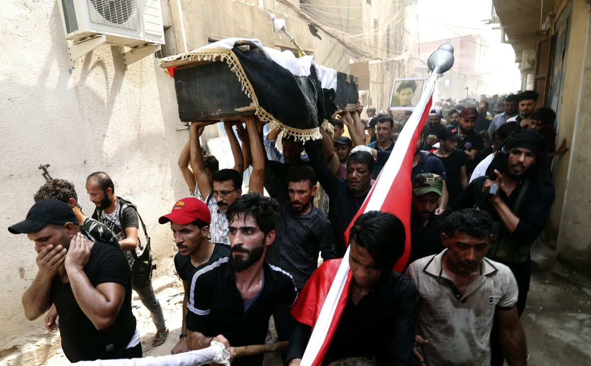 Iraqi protesters carry the coffin of a man on September 4th, 2018. Family and human rights activists claim the man was killed by bullets shot the previous day as he demonstrated against the government and the lack of basic services.
