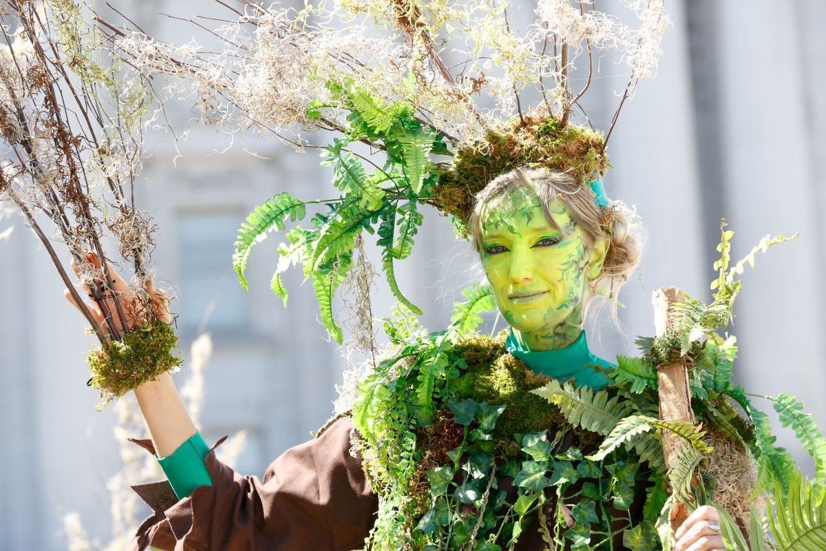 A woman dressed as a tree poses after marching at Rise for Climate in San Francisco on September 8th, 2018.