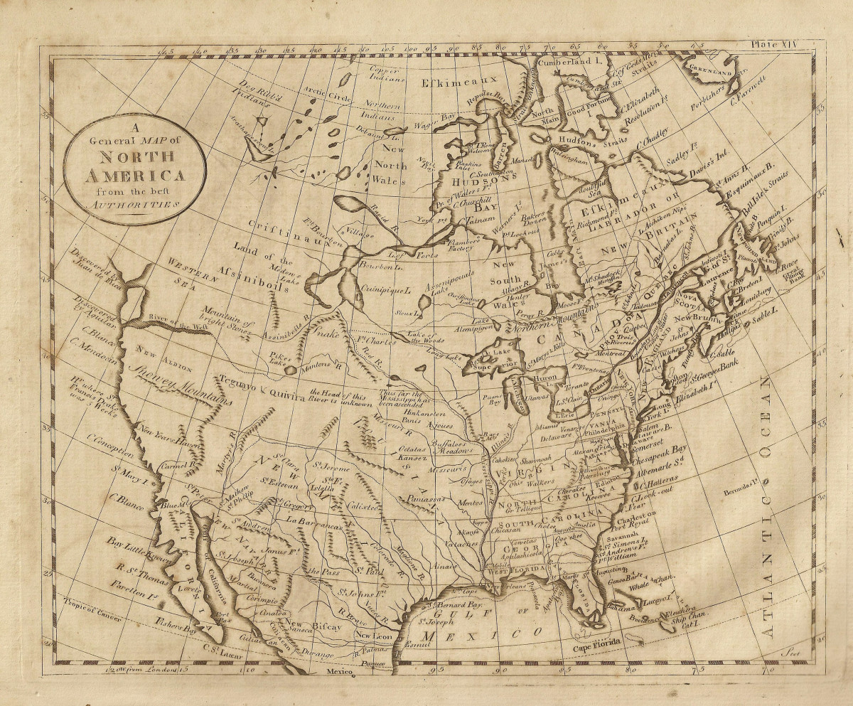 A map, dated 1789, of North America, showing California when it was part of New Spain.