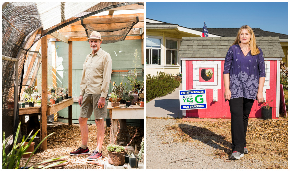 Left: Charles Varni, a retired professor and the co-founder of a grassroots group behind a ballot measure to ban new oil development in San Luis Obispo County, at his home in Oceano, California. | Right: Natalie Risner, the group's co-founder, at her home next to the Price Canyon oil field.