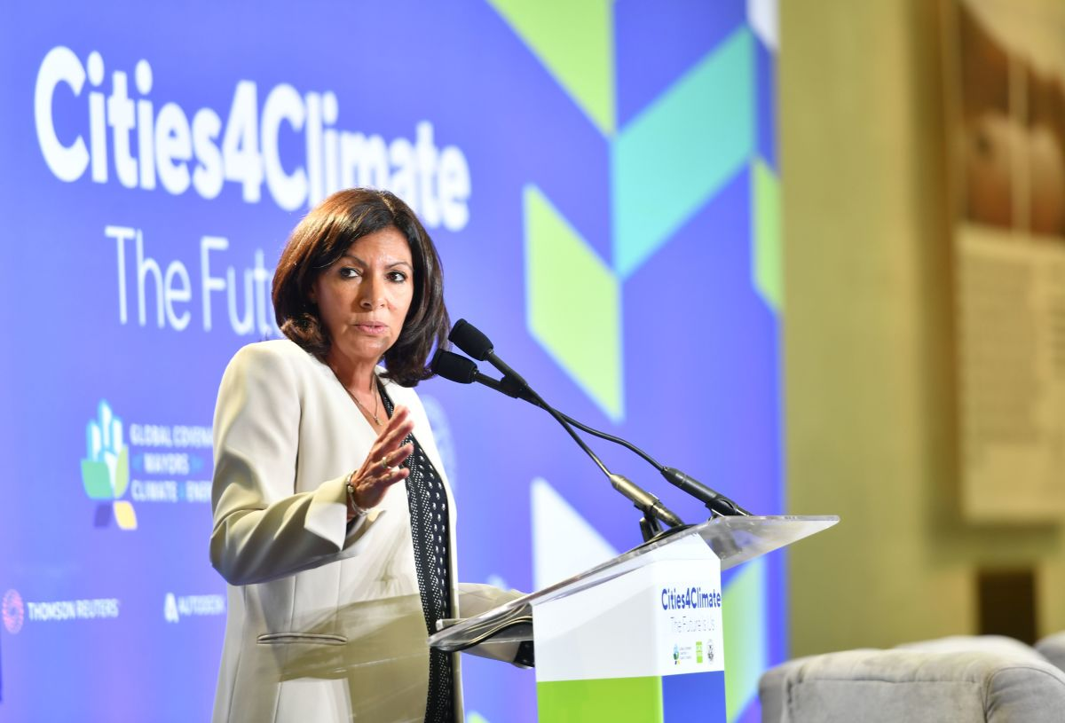 "Paris Mayor Anne Hidalgo speaks during the C40 Cities ""The Future Is Us"" kickoff event at San Francisco's City Hall on September 12th, 2018."