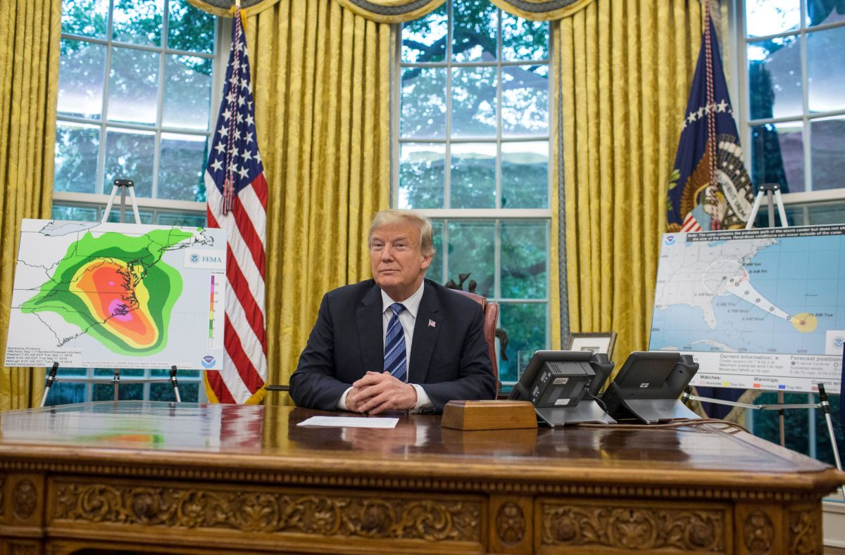 President Donald Trump is pictured following a briefing on Hurricane Florence in the Oval Office at the White House on September 11th, 2018, in Washington, D.C.