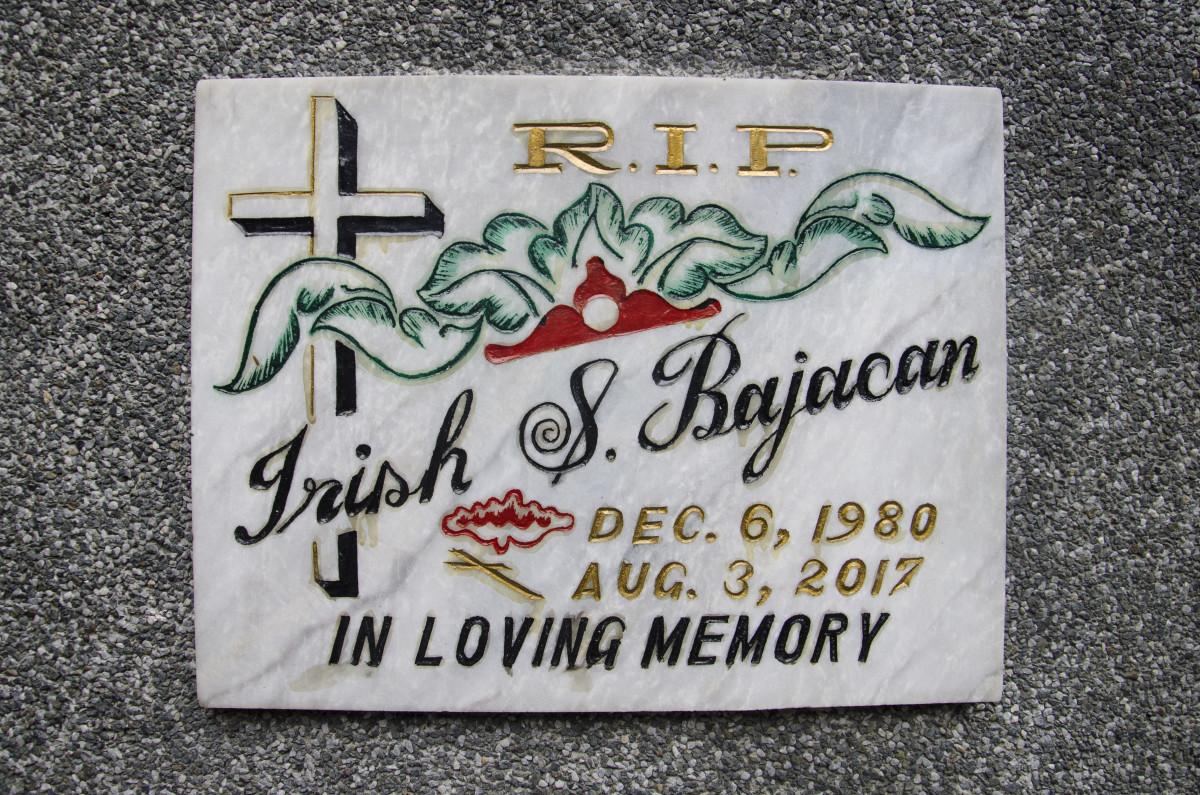 Irish Bahacan's tombstone.