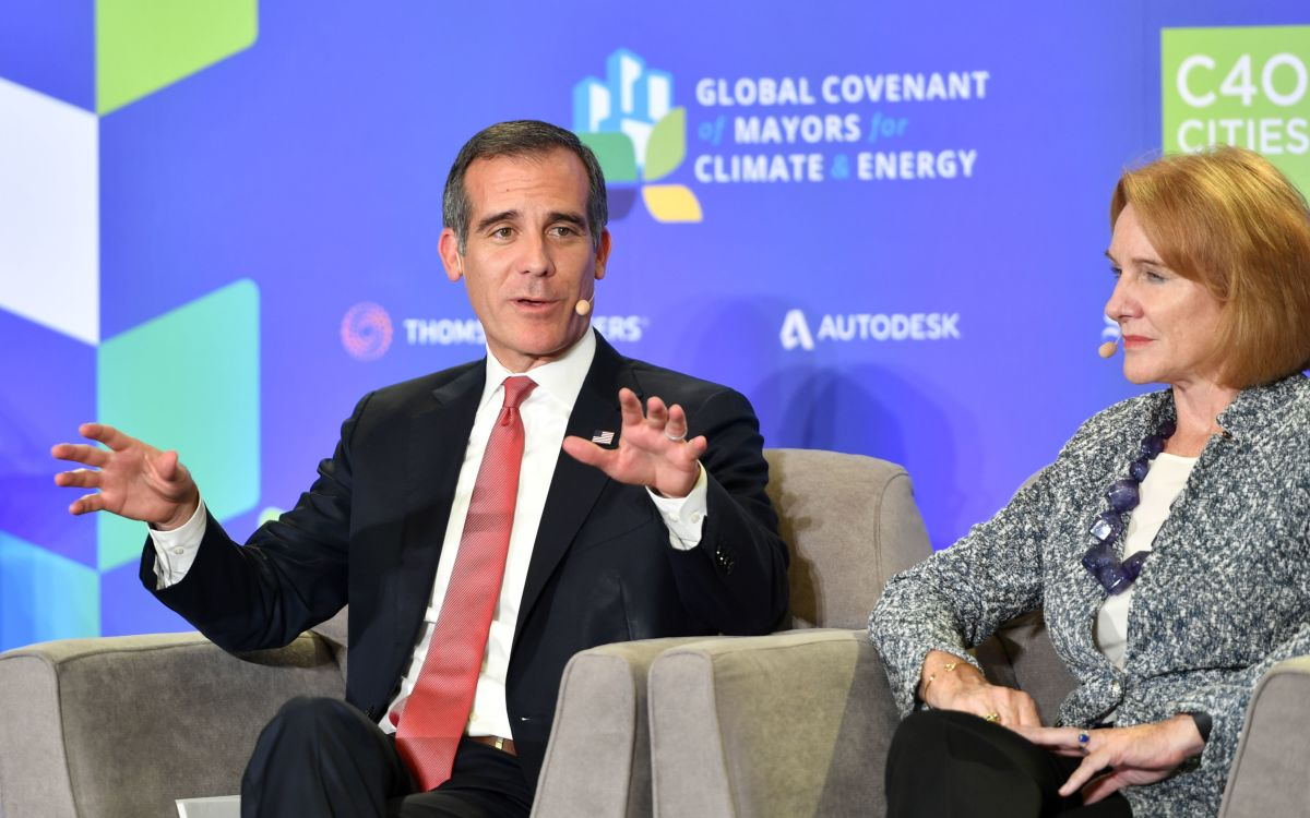 Los Angeles Mayor Eric Garcetti speaks during a panel discussion at the C40 Cities kickoff event at San Francisco's City Hall on September 12th, 2018.