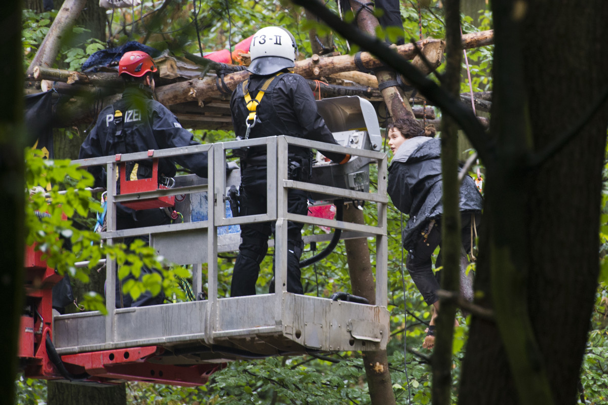 Police arrest an activist from a tree house in Hambach Forest on September 13th, 2018. Confrontations between police and protesters reached a new height when protesters allegedly threw rocks at a police van and a police officer fired a warning shot from his gun into the air.