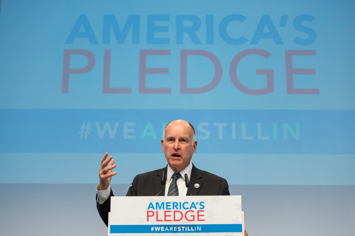 California Governor Jerry Brown talks during a discussion at the America's Pledge launch event.