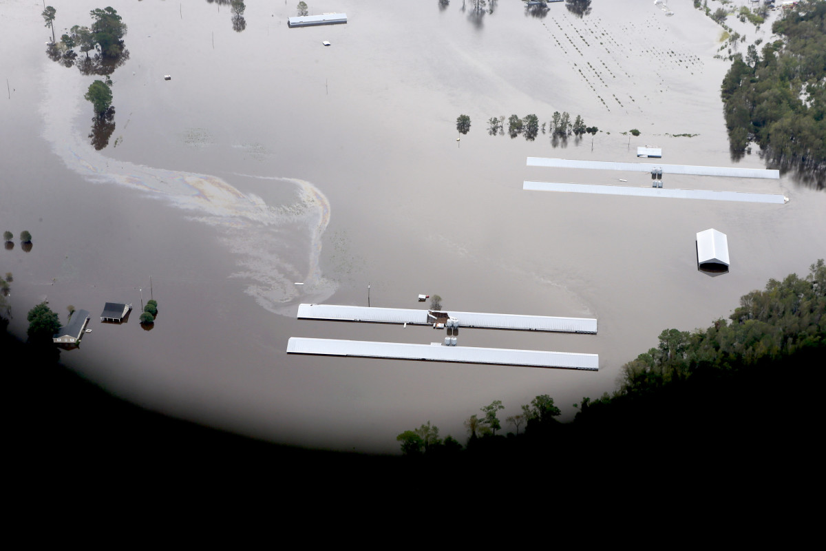 Pilots for Waterkeeper Alliance document the effects of Hurricane Florence's flooding on concentrated animal feeding operations in North Carolina on September 17th, 2018.
