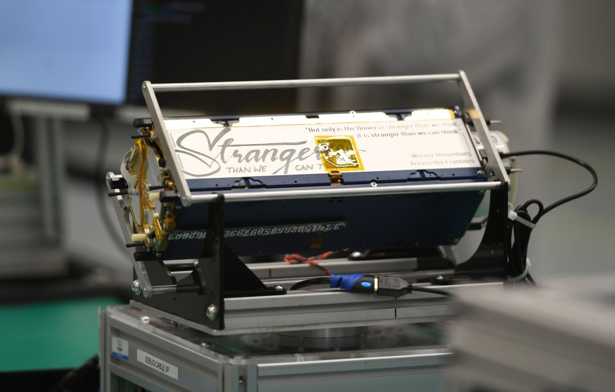 A satellite on display at Planet's manufacturing facility in San Francisco on September 11th, 2018.