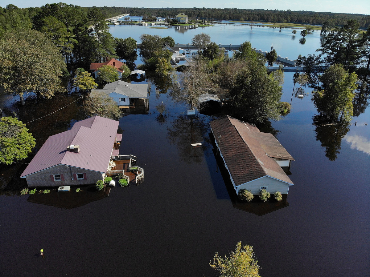 Floodwaters isolate homes in the aftermath of Hurricane Florence on September 19th, 2018, in Lumberton, North Carolina.