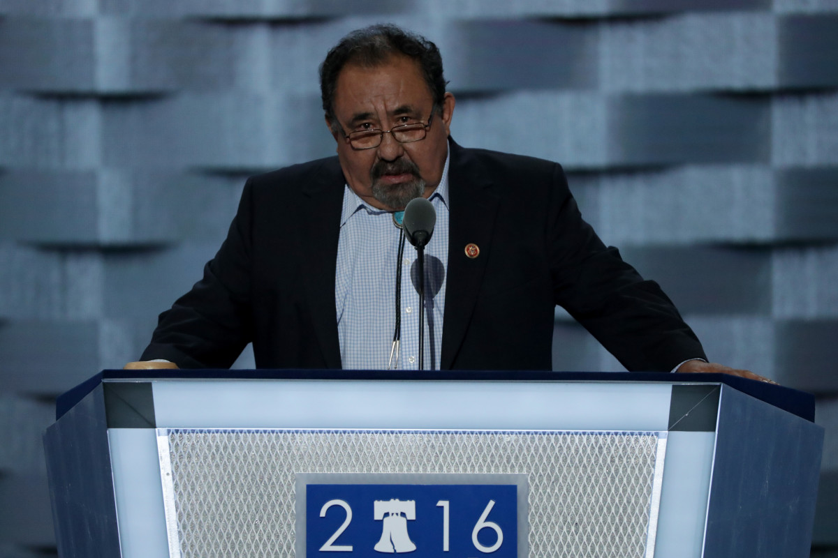 Rep. Raul Grijalva (D-AZ) delivers a speech on the first day of the Democratic National Convention.