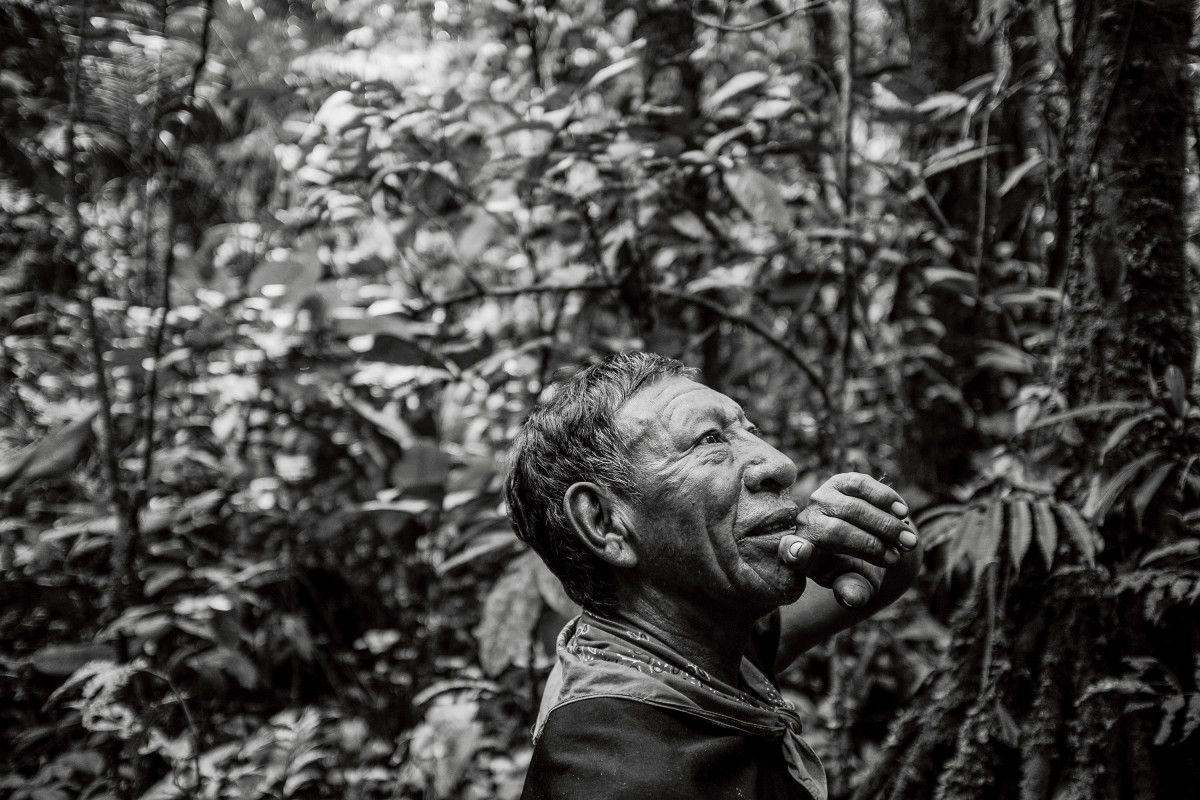 Alejandro Criollo, a Cofán elder, hunting in the forest behind his Dureno home. Alejandro is one of the few Cofán men who wear a traditional tunic every day.