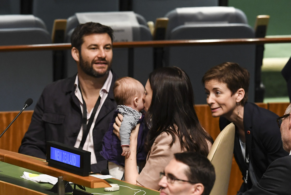 In June, Jacinda Ardern, the prime minister of New Zealand, became only the second head of state in modern history to give birth while in office (the first was Pakistan's Benazir Bhutto in 1990). Here, Ardern kisses her daughter, Neve Te Aroha Ardern Gayford, as her partner, Clarke Gayford (left), looks on during the Nelson Mandela Peace Summit on September 24th, 2018, one day before the start of the general debate of the 73rd session of the general assembly at the United Nations in New York.
