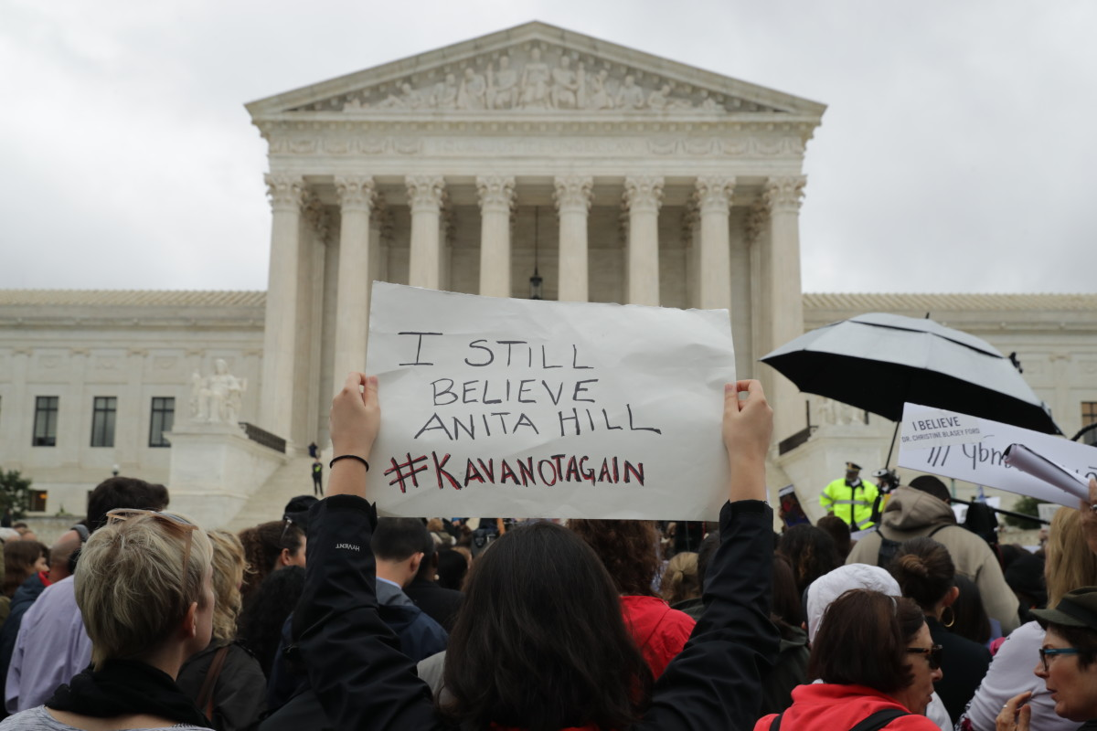 Protesters in front of the Supreme Court demonstrate against the confirmation of Judge Brett Kavanaugh to the court in Washington, D.C., on September 24th, 2018.