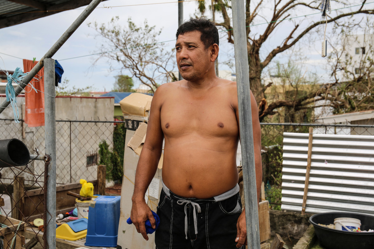 "Jerry Serrano, 41, lost two acres of corn during the typhoon. ""My home and my source of income is gone, in a matter of hours,"" he says."