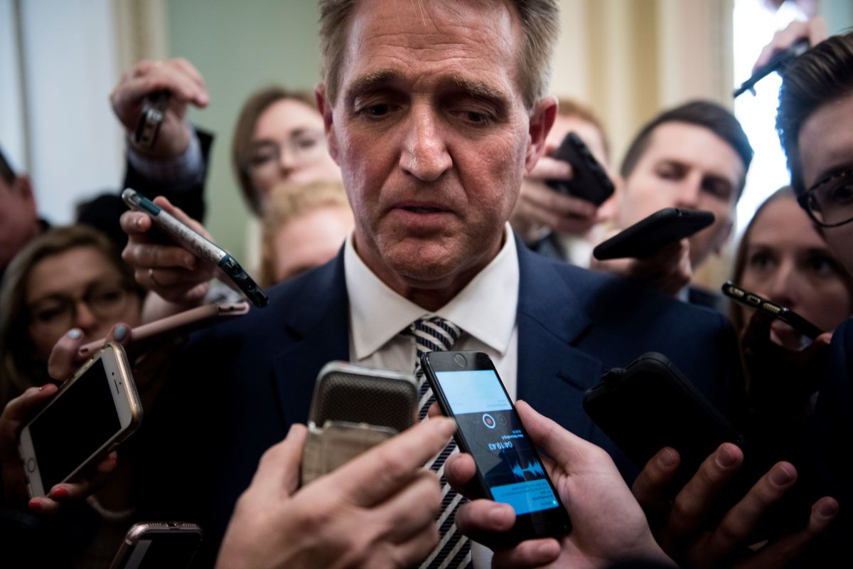 Senator Jeff Flake speaks with reporters after a meeting with Senate Majority Leader Senator Mitch McConnell about the Kavanaugh nomination on September 28th, 2018, in Washington, D.C. Flake initially stated he would vote to confirm Kavanaugh, but called for a delay and an FBI investigation on Friday afternoon.