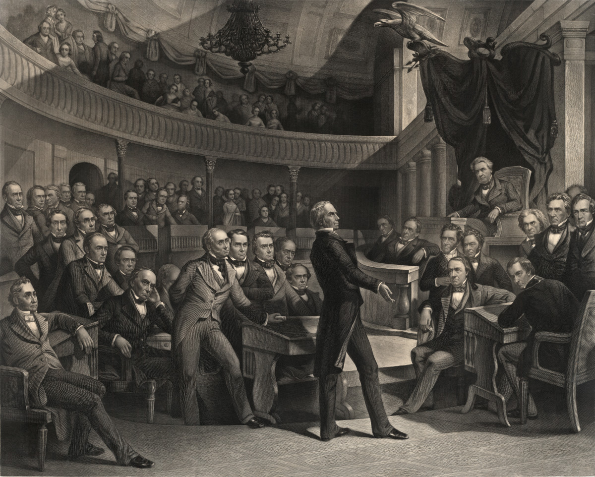 The United States Senate, A.D. 1850, an engraving by Peter F. Rothermel that depicts Senator Henry Clay speaking in the Old Senate Chamber; Vice President Millard Fillmore presides, as Senator John C. Calhoun (to the right of the Speaker's chair) and Senator Daniel Webster (seated to the left of Clay) look on.