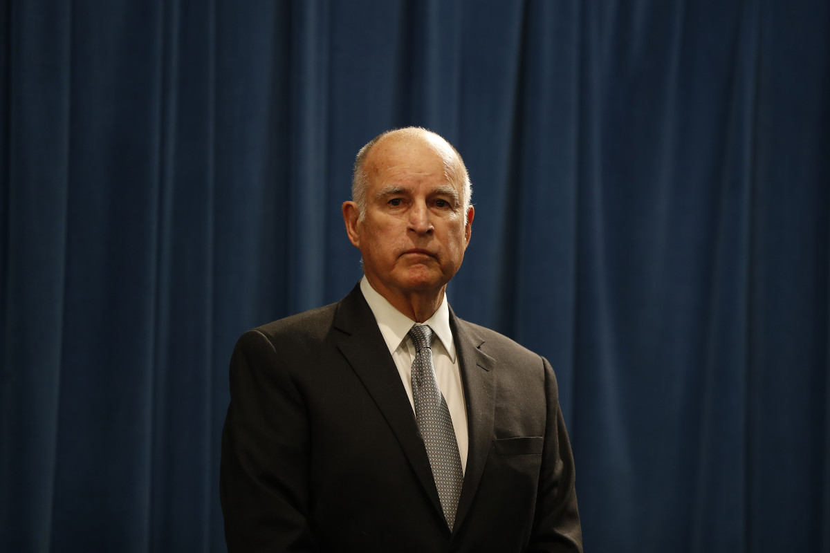 California Governor Jerry Brown speaks during a press conference at the California State Capitol on March 7th, 2018, in Sacramento, California.