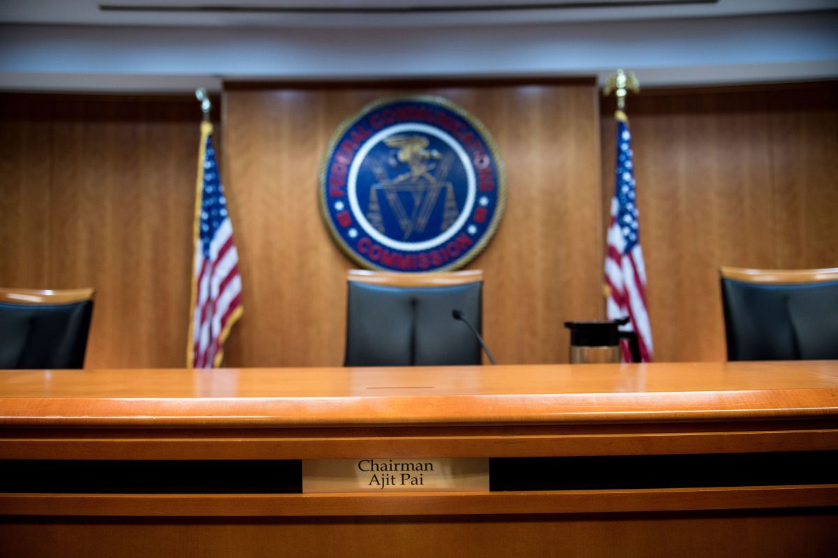 A view of the commission's hearing room before a hearing at the Federal Communications Commission.