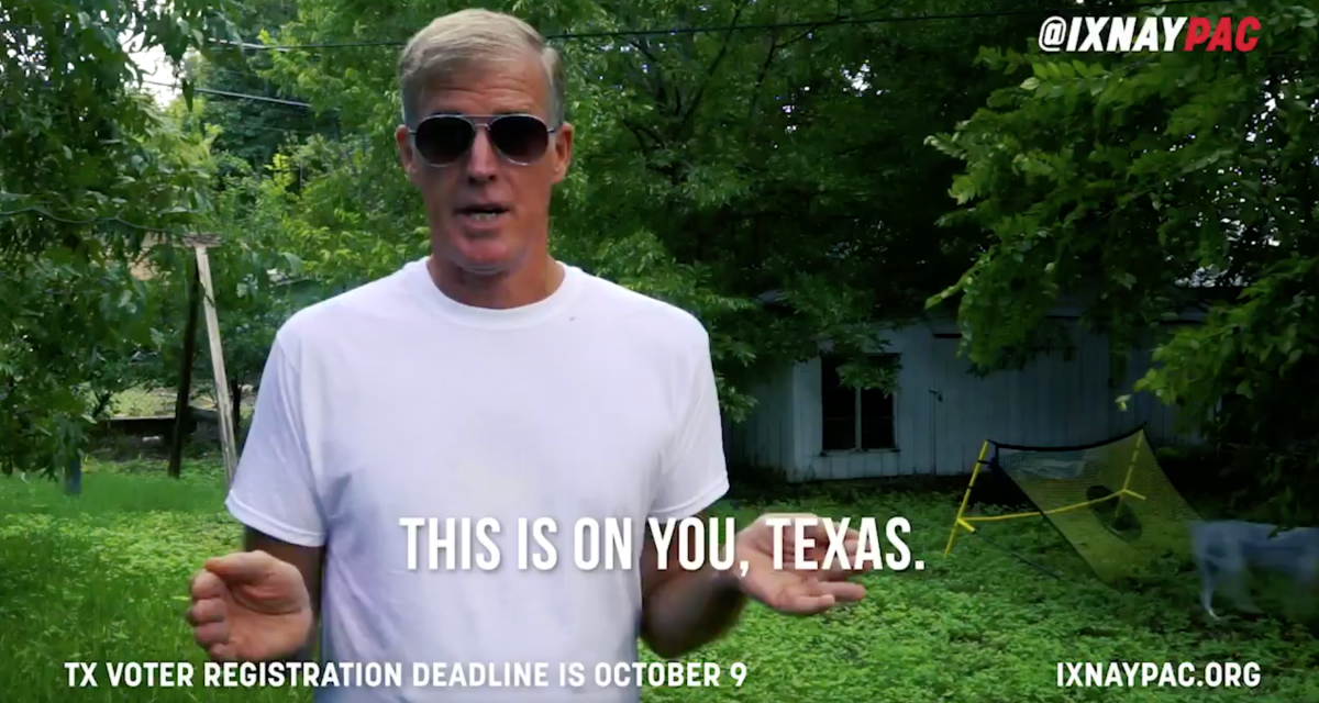Trace Crutchfield speaks onscreen in an IXNAY advertisement.