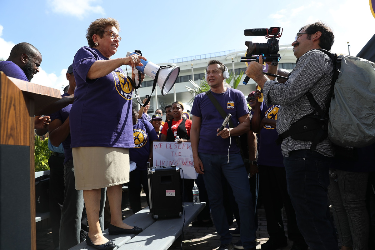 Florida Democratic congressional candidate Donna Shalala speaks as she attends a protest at Miami International Airport as airport workers call for fair wages, union rights, paid sick leave, and safe workplaces on October 2nd, 2018, in Miami, Florida. Shalala is running against Republican challenger Maria Elvira Salazar for the seat.