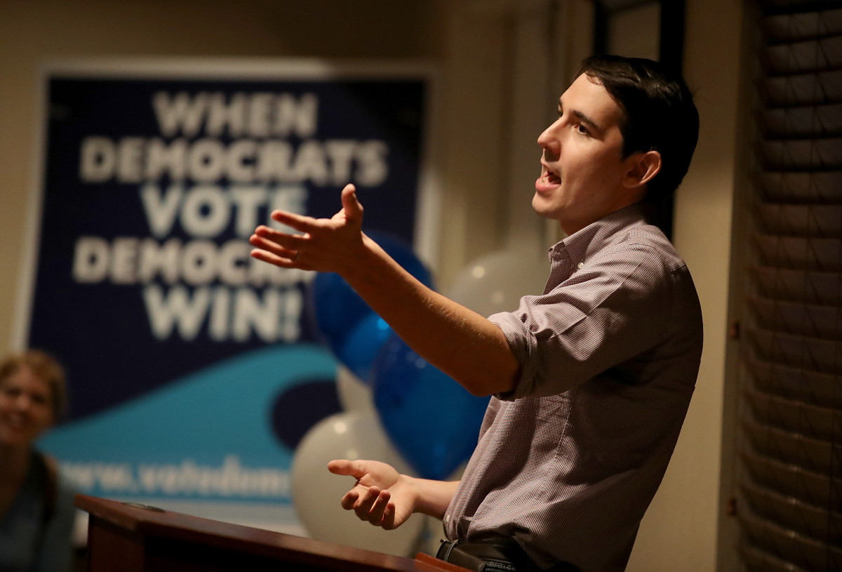 California Democratic congressional candidate Josh Harder speaks during a town hall-style meeting at a Best Western hotel on October 4th, 2018, in Patterson, California. Harder is running against Republican incumbent Representative Jeff Denham in California's 10th District. According to a new poll, Harder has a 5 percentage point lead over Denham.