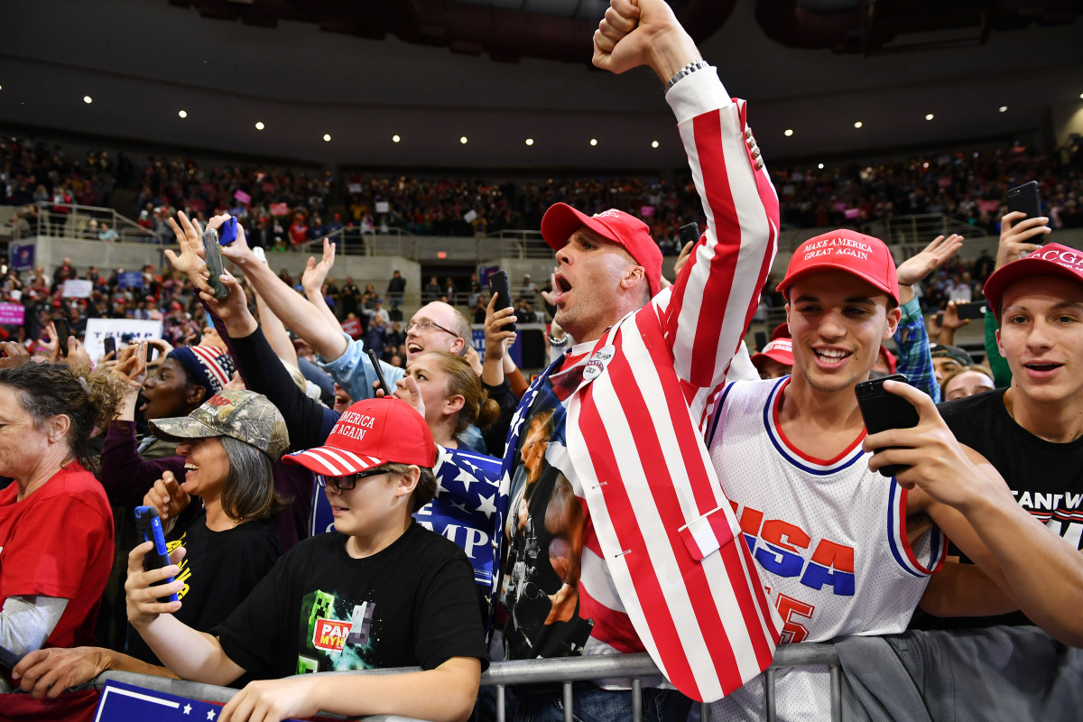 Supporters of President Donald Trump attend a rally at the Mayo Civic Center in Rochester, Minnesota, on October 4th, 2018.