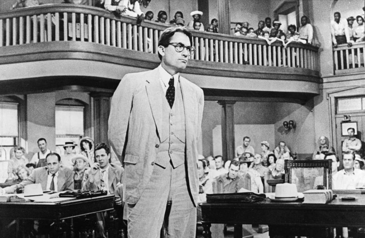 Gregory Peck as Atticus Finch in the 1962 film version of Harper Lee's To Kill a Mockingbird.