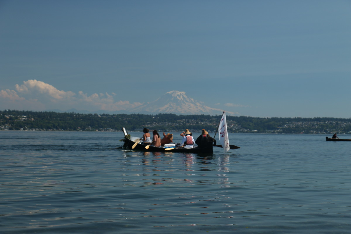 Paddling with Mt. Rainier in the background.