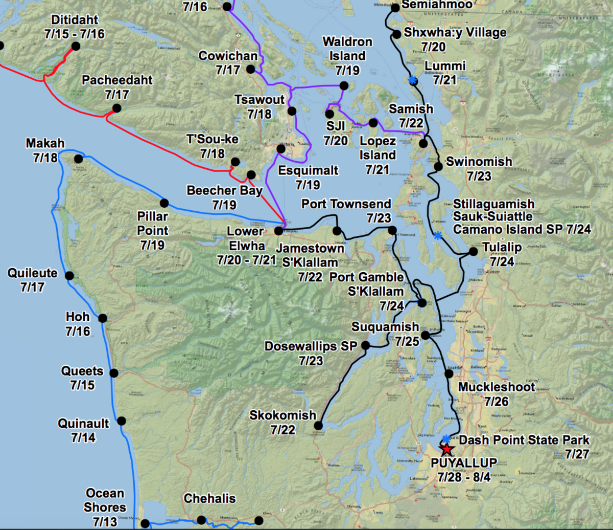 A map showing various tribal canoe journeys to Puyallup.