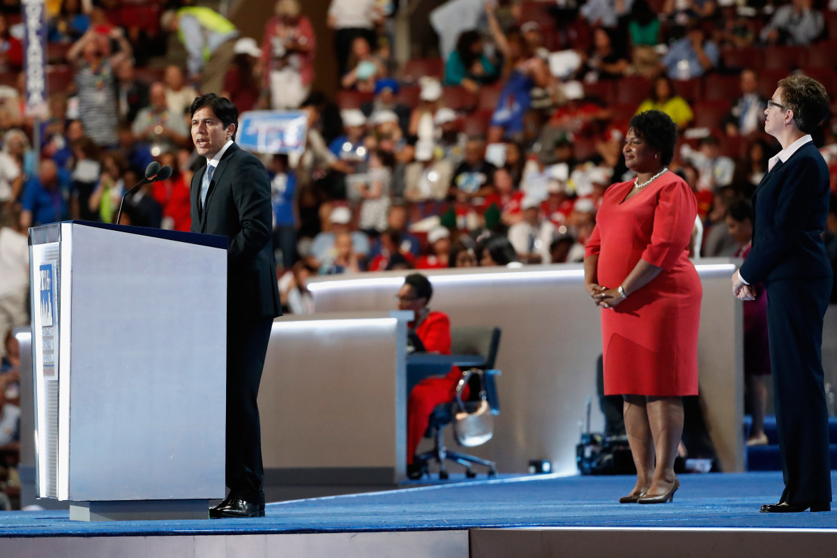 Senator Kevin de Leon delivers a speech at the Democratic National Convention on July 25th, 2016, in Philadelphia, Pennsylvania.